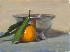 daily painting titled Clementine and silver bowl - click for enlargement