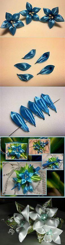 Diy Ribbon Flower -for any pattern Ribbon Art, Fabric Ribbon, Ribbon Crafts, Flower Crafts, Ribbon Bows, Fabric Crafts, Ribbons, Cloth Flowers, Satin Flowers