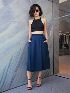 This crop-top look is perfect for reverse-triangle body types, who are larger on top
