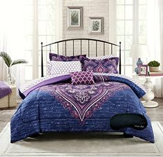 New! Boho Chic Blue Purple Teen Girls Comforter, Shams, Sheet Set, Toss Pillow +BONUS Home Style Sleep Mask! (7 Pc. Bedding Bundle) (Twin) Home Style http://www.amazon.com/dp/B017QIHR22/ref=cm_sw_r_pi_dp_Cm.9wb0RE865K