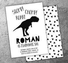 Printable Black and White Dinosaur Birthday Invitation | Modern TREX Party | Boys Tyrannosaurus Party |  Thank You Card | Cupcake Toppers | Favor Tag | Food Labels | Candy Bar Wrapper | Photo Props | Signs | Banner | DIY Party Package Decor Available!