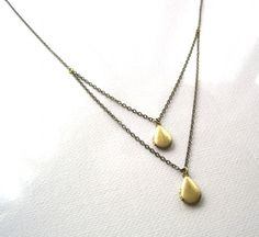 Double Tear Drop Locket Layered Necklace by SeahagAndWalrus