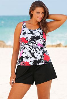 bc8e2c558e7c0 Beach Belle Newspaper Plus Size Floral Shortini Swimsuits For All