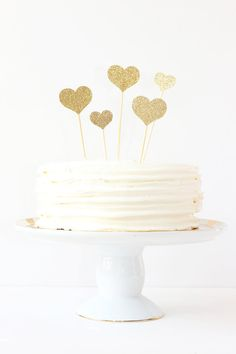 Gold Glitter Heart Cake Topper Valentines Day Cake Topper Girls Birthday Party Wedding Cake Decorations Gold Glitter Party Supplies