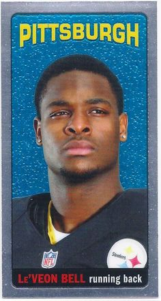 Le'Veon Bell (Rookie) Pittsburgh Steelers 2013 Topps Chrome (1965 Tallboy Mini) card #30 Pitsburgh Steelers, Here We Go Steelers, Pittsburgh Steelers Football, Pittsburgh Sports, College Football, Football Trading Cards, Football Cards, Baseball Cards, Steelers Super Bowls