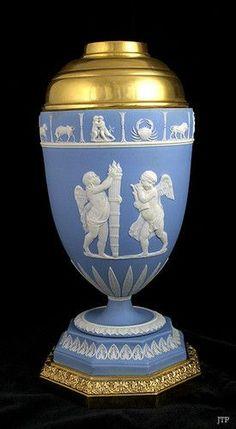 Antique Wedgwood Jasperware Gilt Bronze Zodiac Urn