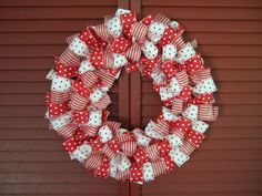 Materials   12″ metal ring   72 feet of 1 1/2″ wired ribbon (24 inches of each pattern in Christmas colors)     Instructions   Tie about 36 bows.   Put all bows on the metal ring but use bows made of different ribbons after each other.   Now you need only a hook to hang the wreath.
