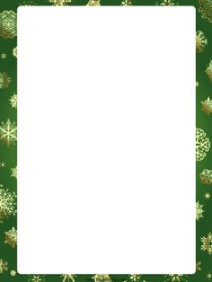 This free, printable, green Christmas border is decorated with gently falling snowflakes. Free to download and print.