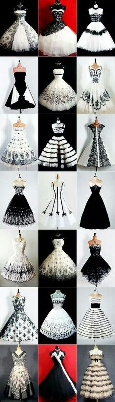 "Original pinner said, Prom and Party Dresses."" I don't think many of them are vintage, though. AND b&w would RARELY be used as a younger girl's party dress at that time. Either way, they're all gorgeous, gorgeous b&w dresses! Pretty Outfits, Pretty Dresses, Beautiful Outfits, Vintage Outfits, Vintage Fashion, Retro Fashion, 1950s Prom, Vintage Mode, Vintage Style"
