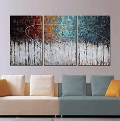 "awesome ARTLAND Hand-Painted ""Color Forest"" Gallery-Wrapped Abstract Oil Painting On Canvas Wall Art Decor Home Decoration inches Casa Art Deco, Art Deco Home, Oil Painting Flowers, Oil Painting Abstract, Unique Paintings, Your Paintings, Contemporary Abstract Art, Modern Wall Art, Wall Art Decor"