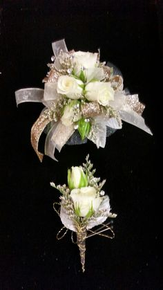 Cream and gold corsage and bout