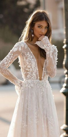 Amazing Embroidered Backless A-Lane Wedding Dress / Bridal Gown with Deep V-Neck Cut, Long Sleeves and Open Back. Fall Winter 2019 Bridal Couture Collection by Berta V Neck Wedding Dress, Fall Wedding Dresses, Sleeved Wedding Gowns, Berta Wedding Gowns, Backless Wedding Dress With Sleeves, Long Sleeve Wedding Dress Boho, Backless Gown, Amazing Wedding Dress, Berta Bridal