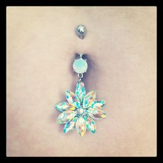 Stainless Steel Aurora Borealis Crystal Belly Ring | Body Candy Body Jewelry #bodycandyfans