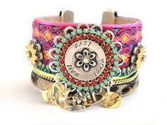 Hippie Jewelry | Bohemian hippie jewelry - friendship bracelet cuff in pink and ...