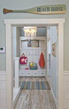 I want these color floors for our beachhouse---reminds me of worn driftwood ♥ Beach house entry Love the colors ~ fantastic and fresh!
