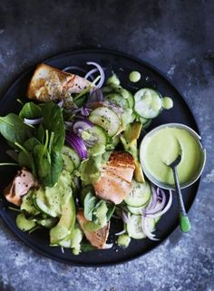 Salmon salad with green tahini dressing.