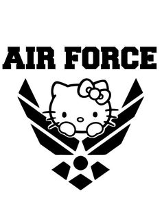 hello kitty decal AIR FORCE DECAL For Car Laptop Truck  by RIVinyl,