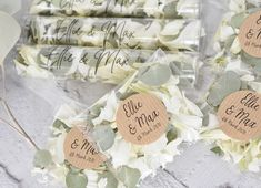 Look at this gorgeous confetti mix. Natural petal confetti including white Carnation petals and Dried Eucalyptus confetti. Shown here in clear biodegradable confetti packets with personalised stickers and recyclable confetti flingers with clear personalised stickers. Available from Adamapple Confetti - Confetti mix is called Natural Vibes. Perfect confetti for weddings. All biodegradable and eco friendly so perfect for most wedding venues. Confetti Bars, Confetti Cones, Biodegradable Confetti, Biodegradable Products, Personalised Stickers, Dried Eucalyptus, White Carnation, Wedding Confetti, Wedding Goals