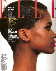 Karen Alexander - Elle US December 1986 by Gilles Bensimon Dark Skin Models, Black Models, Black Magazine, Elle Magazine, Fashion Magazine Cover, Fashion Cover, Silver Tux, Karen Alexander, Magazin Covers