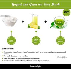 Green Tea Face Mask: Benefits + Top 12 DIY Recipes green tea and yogurt face mask Diy Mask, Diy Face Mask, Face Masks, Best Peel Off Mask, Yogurt Face Mask, Chocolate Face Mask, Cucumber Face Mask, Green Tea Face, Best Face Products