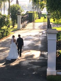Palm Beach Wedding - natural lighting with an elegant gate at the Flagler museum - behind the royal poinciana chapel