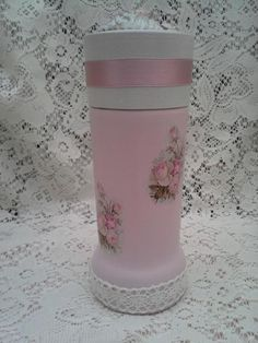 altered coffee jar with roses