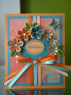 """Handmade Greeting Turquoise Paper Quilling Card """"Always Remember"""" with Quilled Flowers and Butterfly (Birthday,Anniversary)"""