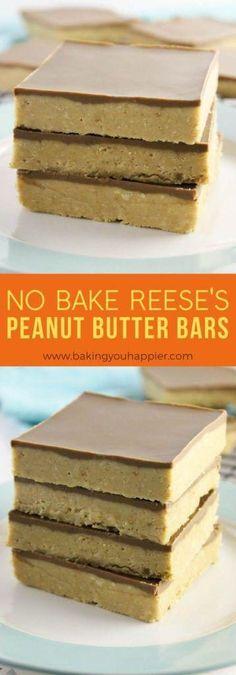 Easy No Bake Desserts, Köstliche Desserts, Desserts To Make, No Bake Treats, Health Desserts, Reese's Peanut Butter Bars, Peanut Butter Recipes, Baking Recipes, Cake Recipes