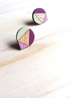 Hand Painted Laser Cut Wood Geometric Droplet Pattern Stud Earrings- Pistachio, Burgundy and Mauve