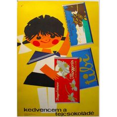 """This Hungarian poster features a cute kid, chocolate bars, and a typical paper-cut technique - a fairly winning combination, no? The little girl holds tablets of Hungarian chocolate in her hands, and the poster reads """"Milk chocolate is my favourite! Retro Advertising, Retro Ads, Vintage Advertisements, Vintage Ads, Vintage Posters, Illustrations Vintage, Illustrations And Posters, Graphic Design Illustration, Illustration Art"""