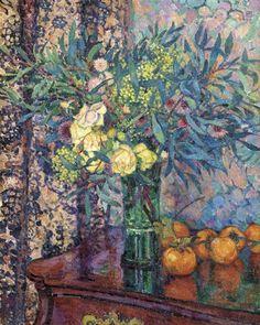 Théo van Rysselberghe - Still Life with Flowers. Pierre Auguste Renoir, Théo Van Rysselberghe, Post Impressionism, Still Life Art, Botanical Art, Flower Art, Life Flower, Painting & Drawing, Amazing Art