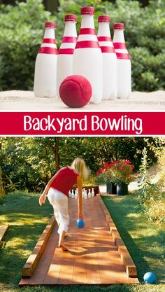 32 Of The Best DIY Backyard Games You Will Ever Play - Backyard bowling using recycled plastic bottles!