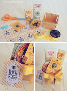 """You will always bee my favorite teacher""... Burt Bee's honey products form the basis of the theme. I placed them in a wood berry basket, wrapped them with ribbon"