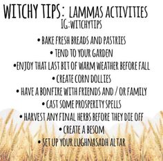 Lughnasadh is almost here! Here's some ideas on how to celebrate! Wiccan Sabbats, Wicca Witchcraft, Magick, Wiccan Witch, Prosperity Spell, Eclectic Witch, Baby Witch, Modern Witch, Mabon