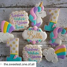 all using our stencils! So perfect an pretty! with ・・・ ♡ Rainbow Wishes & Unicorn Kisses ♡ Happy Birthday Sweet Little Bella! I just fell in love with unicorns all over again ♡ Unicornio Cookies, Winter Torte, Unicorn Themed Birthday, Unicorn Baby Shower, 4th Birthday Parties, 5th Birthday, Birthday Ideas, Bday Girl, Happy 1st Birthdays