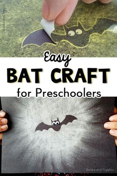 This is an easy bat craft preschool kids will love! They can strengthen fine motor skills and magically create a bat silhouette against a glowing full moon. This would make an adorable classroom display, along with facts about bats. Halloween Arts And Crafts, Halloween Crafts For Toddlers, Easy Fall Crafts, Theme Halloween, Fall Crafts For Kids, Toddler Crafts, Art For Kids, Bat Activities For Kids, Cool Kids Crafts