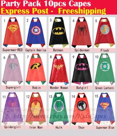Party Pack - 10pcs superhero capes for kids Birthday party supplies (Only Capes) #Unbranded