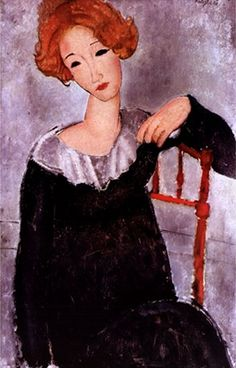 """""""Woman with Red Hair"""" by Amedeo Modigliani, c. 1917. The artist died in Paris of tubercular meningitis, exacerbated by poverty, overworking, and an excessive use of alcohol and narcotics, at the age of 35 -  (1884 - 1920)."""