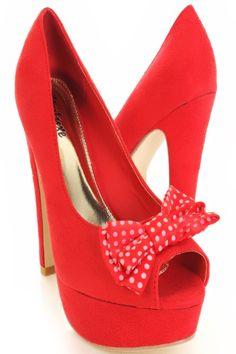 $12.99 Red Faux Suede Dotted Bow Peeptoe Platform Pump Heels @ Amiclubwear Heel Shoes online store sales:Stiletto Heel Shoes,High Heel Pumps,Womens High Heel Shoes,Prom Shoes,Summer Shoes,Spring Shoes,Spool Heel,Womens Dress Shoes,Prom Heels,Prom Pumps,High Heel