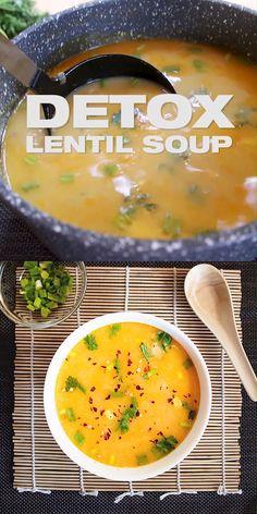 Easy Ginger Coconut Detox Lentil Soup Recipe [Vegan] - Healthy One-pot red lentil soup with nutritious wholesome fresh i Vegan Lentil Recipes, Vegetarian Soup, Healthy Pasta Recipes, Healthy Soup Recipes, Easy Dinner Recipes, Keto Soup, Healthy Pastas, Vegan Detox Soup, Lentil Detox Soup