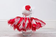 Baby Shabby Chic Tutu and Headband Red & Silver 6 by PeaPodProps, $40.00