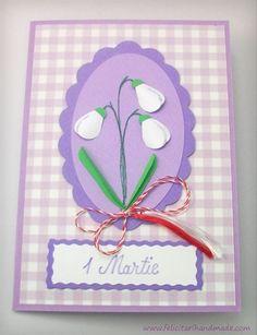 Felicitare 1 Martie ghiocei colaj / Springtime card with colage snowdrops