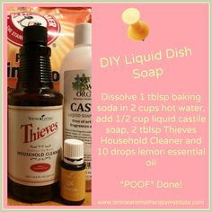 DIY Liquid Dish Soap using Young Living essential oils! DIY Liquid Dish Soap using Young Living essential oils! Essential Oil Cleaner, Thieves Household Cleaner, Essential Oils Cleaning, Lemon Essential Oils, Essential Oil Uses, Young Living Essential Oils, Thieves Cleaner, Household Cleaners, Young Living Thieves
