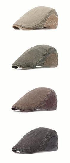 fed5538fd68 Men Women Cotton Vintage Casual Beret Cap Newsboy Adjustable Thick Golf  Cabbie Hat Hats For Men