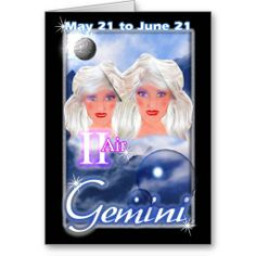 Gemini Zodiac birthday card