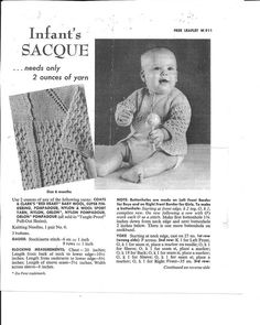 Vintage Coats and Clark baby saque Baby Knitting Patterns, Knitting Ideas, Free Knitting, Baby Coat, Yarn Sizes, Baby Knits, Vintage Coat, Vintage Knitting, Buttonholes