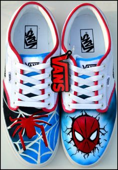 Hand Painted Custom Spiderman Shoes by PricklyPaw, $87.50 #bacon #etsyshopping #Spiderman #IN #BizRT