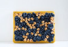 Blue Roses Field Clutch, flower purse, mustard yellow handbag