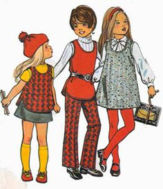 1970s Vintage Sewing Pattern Simplicity 5165 Girls RETRO U Shaped neckline Jumper or Tunic, Pants and Skirt  Size 4 by sandritocat on Etsy