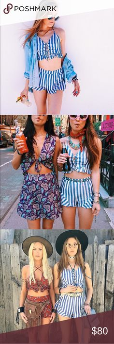 LF stripe 2 piece crop top shorts set S NEW NEW with tag. LF Other